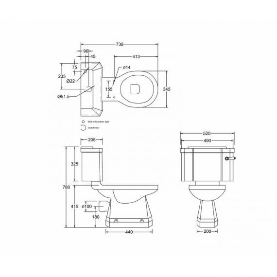 Burlington Classic Round Basin & Close Coupled Toilet Set - Spec