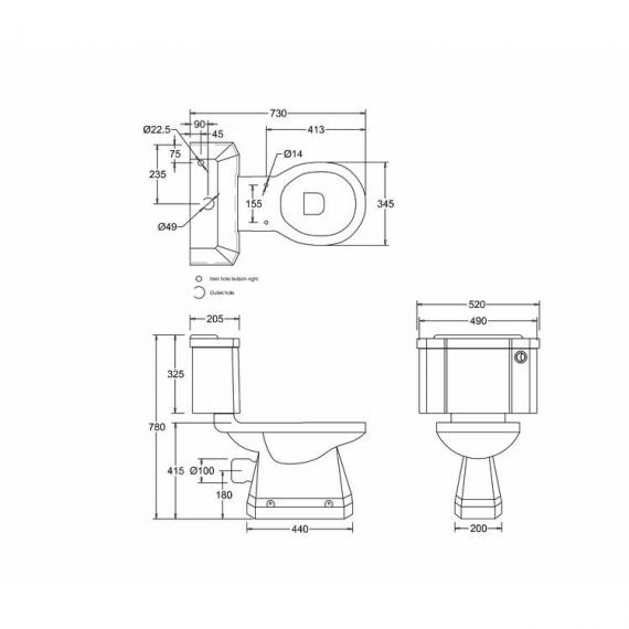 Burlington Close Coupled Toilet With Front Button - spec