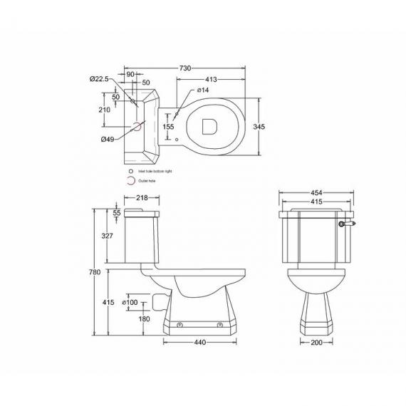 Burlington Slimline Close Coupled Toilet With Ceramic Lever - Spec