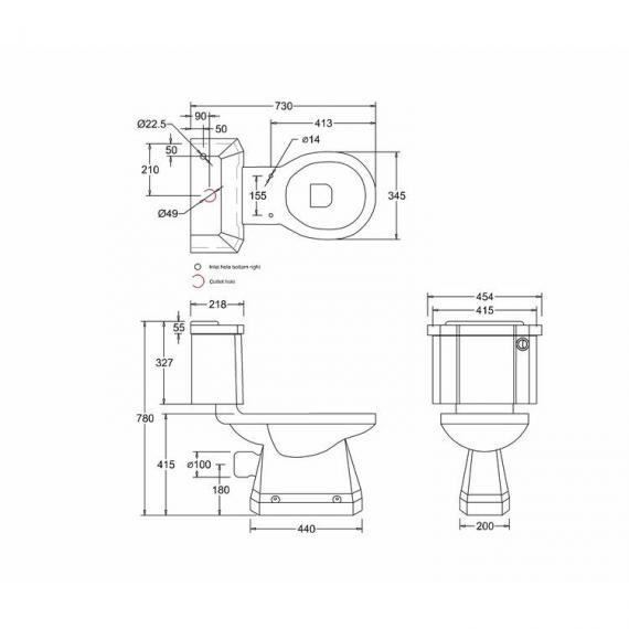 Burlington Slimline Close Coupled Toilet With Front Button - Spec