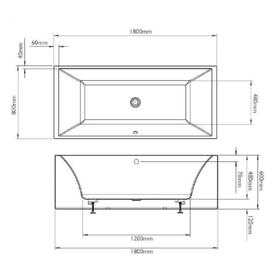 BC Designs Parama 1800mm Freestanding Bath Specification