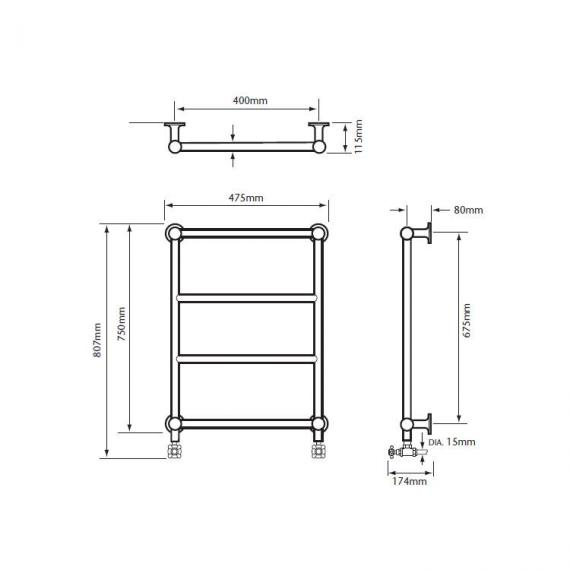 Heritage Portland Wall Mounted Heated Towel Rail Specification