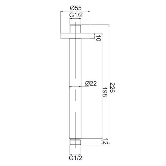 Crosswater Mike Pro Chrome Ceiling Shower Arm Specification