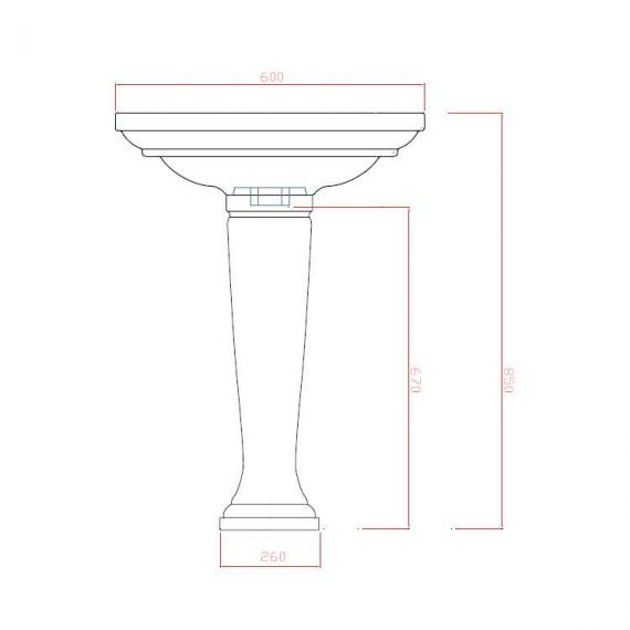 Imperial Radcliffe Medium 600mm Basin & Pedestal Specification