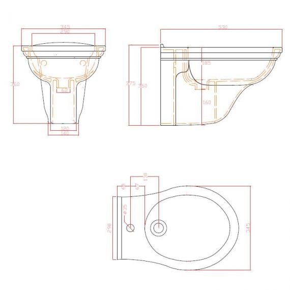 Imperial Radcliffe Wall Hung Bidet Specification