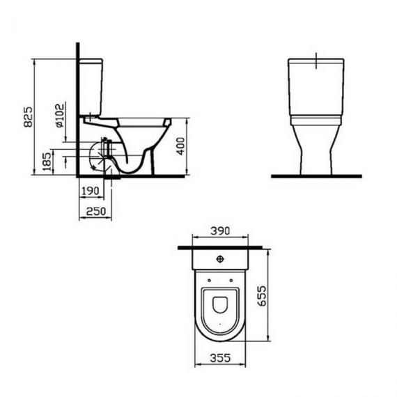 Vitra S50 Back To Wall Close Coupled WC, Cistern & Seat - Spec
