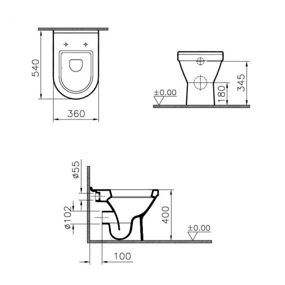 Vitra S50 Back To Wall WC & Seat - Spec