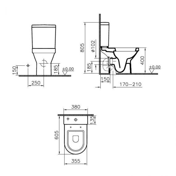 Vitra S50 Compact Open Back Close Coupled WC, Cistern & Seat - Spec