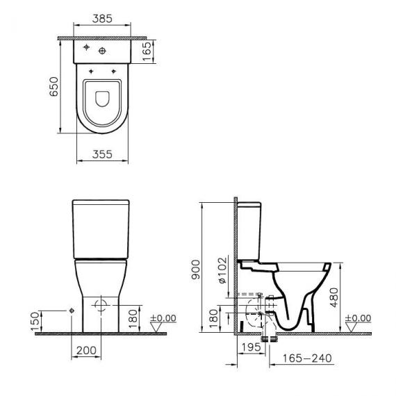 Vitra S50 Comfort Height Back To Wall Close Coupled WC, Cistern & Seat - Spec