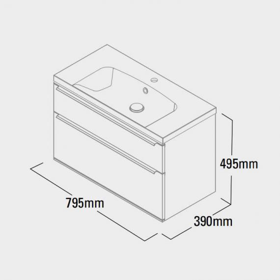 Roper Rhodes Scheme 800mm Wall Mounted Vanity Unit Specification