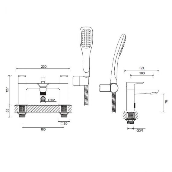 Adora Serene Bath Shower Mixer Specification