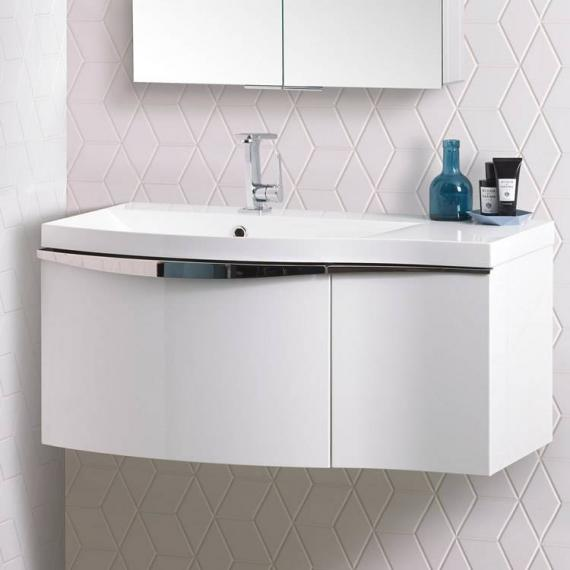 Roper Rhodes Serif 900mm White Gloss Wall Mounted Vanity Unit & Basin