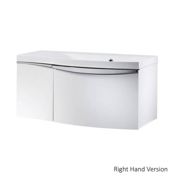 Roper Rhodes Serif 900mm White Gloss Wall Mounted Vanity Unit & Basin - right hand