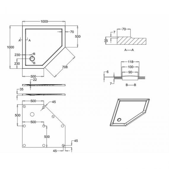 Simpsons 1000 x 1000mm Pentangle 35mm Shower Tray Specification