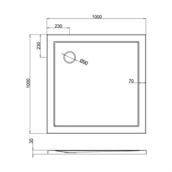Simpsons 1000 x 1000mm White Square 35mm Shower Tray Specification