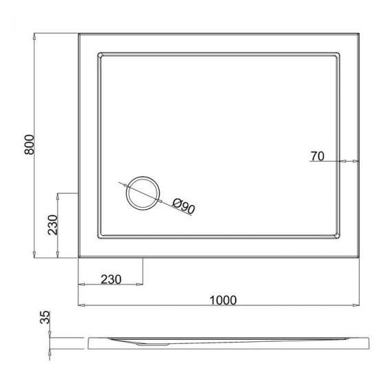 Simpsons 1000 x 800mm White Rectangle 35mm Shower Tray Specification