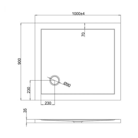 Simpsons 1000 x 900mm Anti-Slip Rectangle 35mm Shower Tray Specification