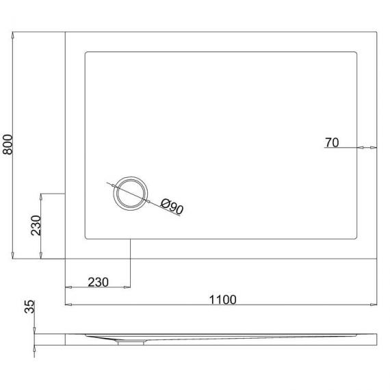 Simpsons 1100 x 800mm White Rectangle 35mm Shower Tray Specification