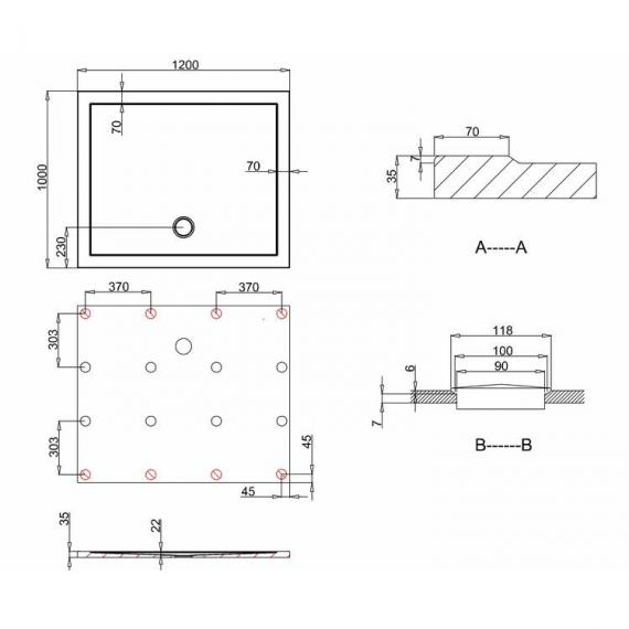 Simpsons 1200 x 1000mm Anti-Slip Rectangle 35mm Shower Tray Specification