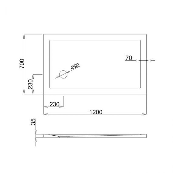 Simpsons 1200 x 700mm Anti-Slip Rectangle 35mm Shower Tray Specification