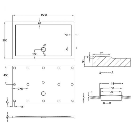 Simpsons 1500 x 900mm Anti-Slip Rectangle 35mm Shower Tray Specification