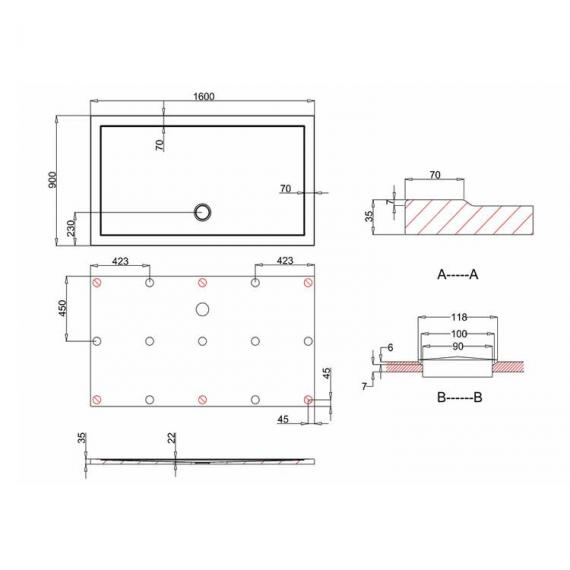 Simpsons 1600 x 900mm White Rectangle 35mm Shower Tray Specification