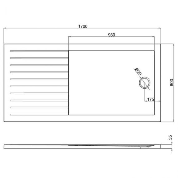 Simpsons 1700 x 800mm Anti-Slip Walk In 35mm Shower Tray With Drying Area Specification
