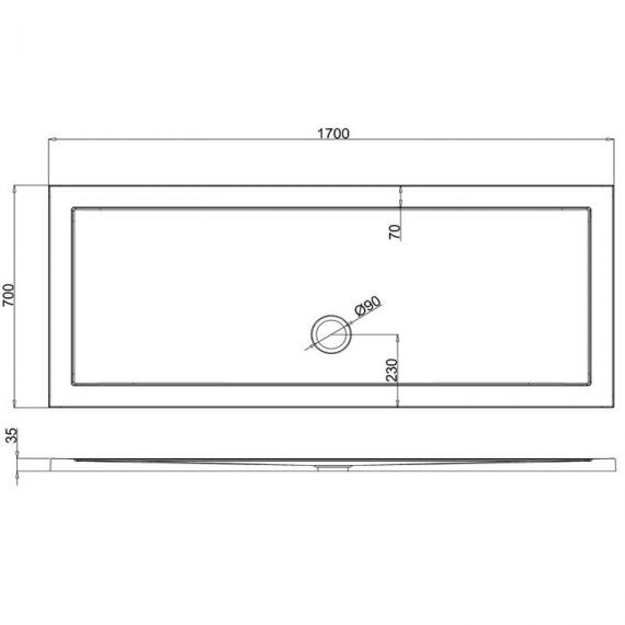 Simpsons 1700 x 700mm Grey Slate Effect Rectangle 35mm Shower Tray Specification