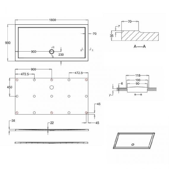 Simpsons 1800 x 900mm Anti-Slip Rectangle 35mm Shower Tray Specification