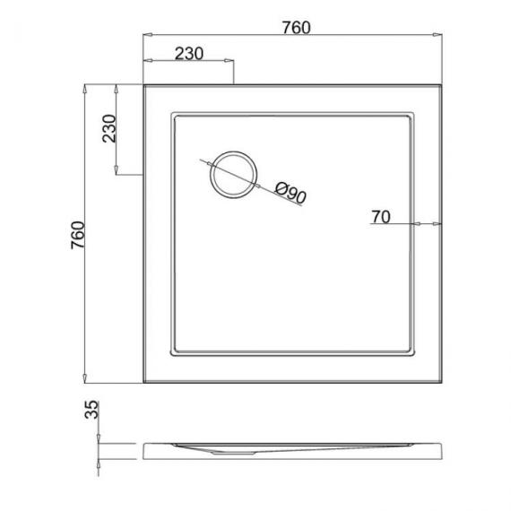 Simpsons 760 x 760mm White Square 35mm Shower Tray Specification