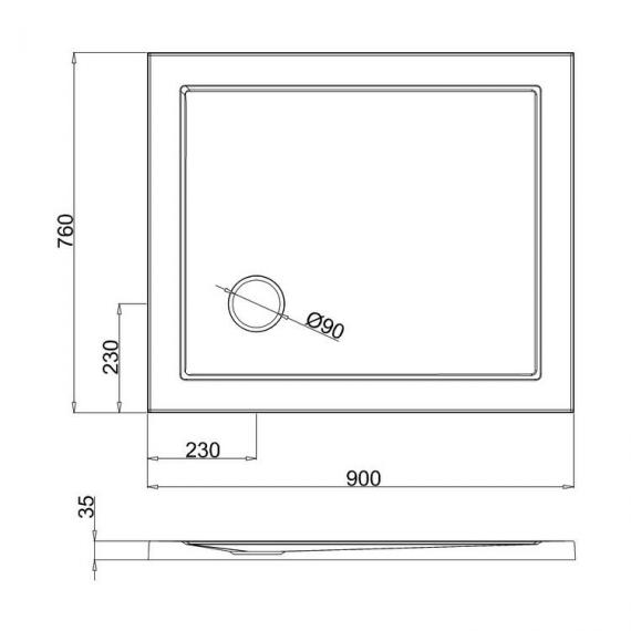 Simpsons 900 x 760mm White Rectangle 35mm Shower Tray Specification