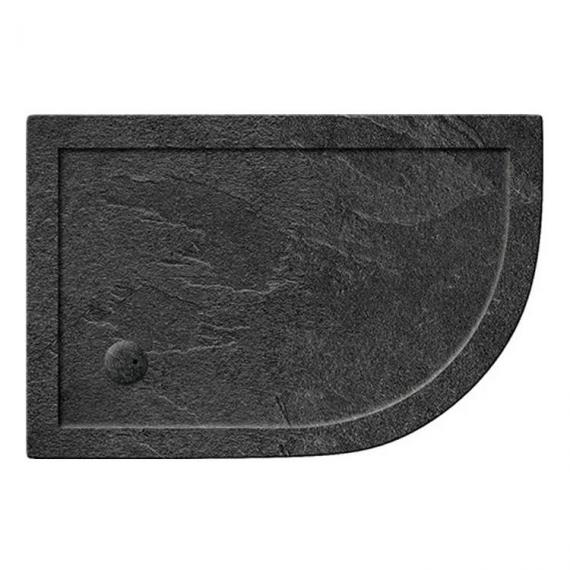 Simpsons 1000 x 800mm Offset Quadrant 35mm Grey Slate Acrylic Shower Tray