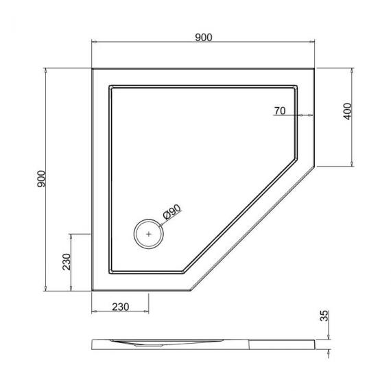 Simpsons 900 x 900mm Pentangle 35mm Shower Tray Specification