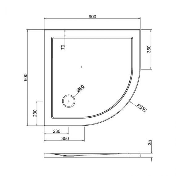 Simpsons 900 x 900mm Quadrant 35mm Anti-Slip Shower Tray Specification