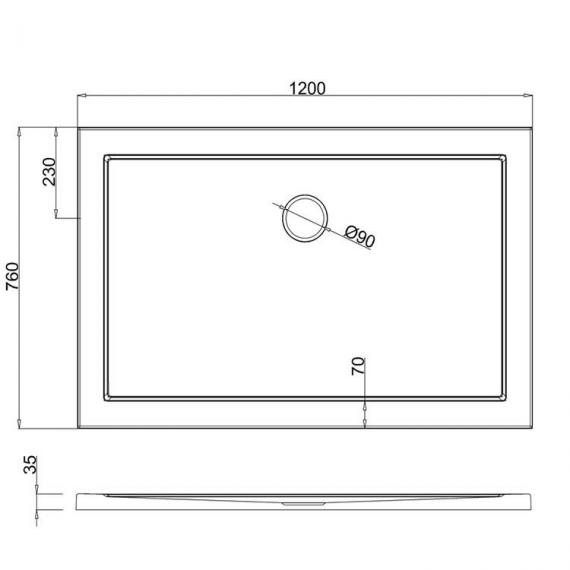 Simpsons 1200 x 760mm Anti-Slip Rectangle 35mm Shower Tray Specification