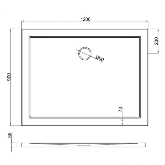 Simpsons 1200 x 900mm White Rectangle 35mm Shower Tray Specification