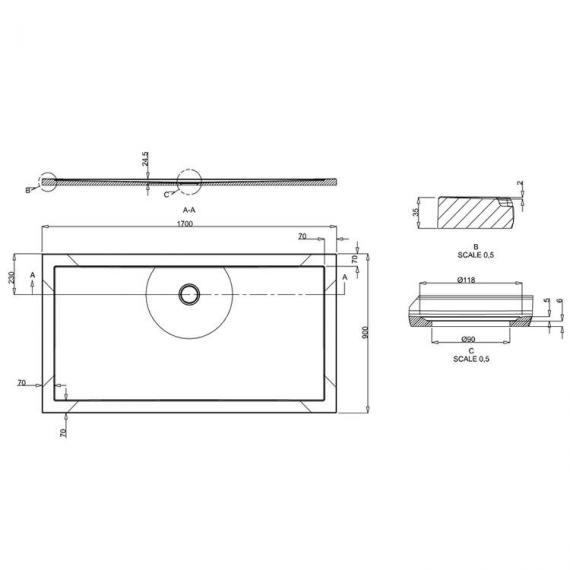 Simpsons 1700 x 900mm Anti-Slip Rectangle 35mm Shower Tray Specification