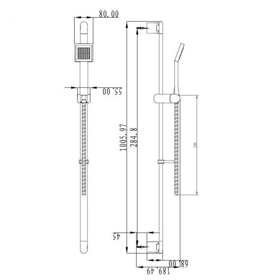 Crosswater Zeya Single Spray Shower Sliding Rail Kit Specification