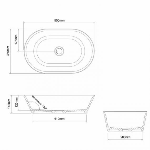 Clearwater Sontuoso Clear Stone Basin Specification