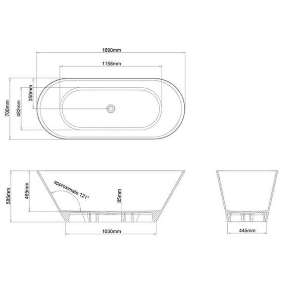Clearwater Sontuoso Clear Stone Freestanding Bath Specification