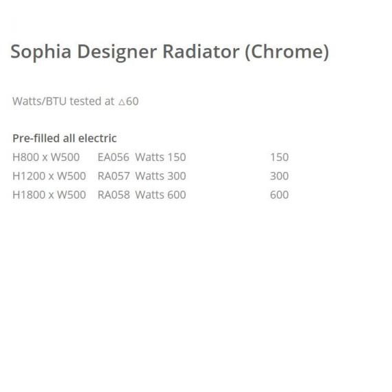 Phoenix Sophia 500mm Chrome Electric Radiator - spec