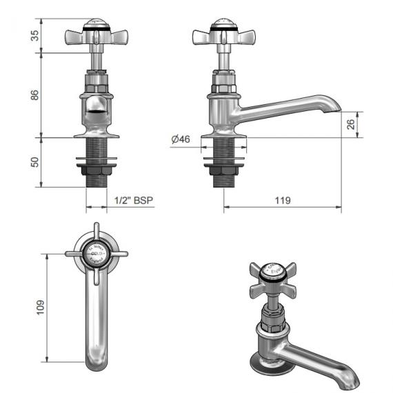 St James Collection Basin Pillar Taps - England Handle Specification