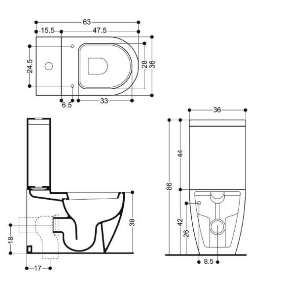 Bauhaus Stream II Close Coupled WC, Cistern & Soft Closing Seat Specification