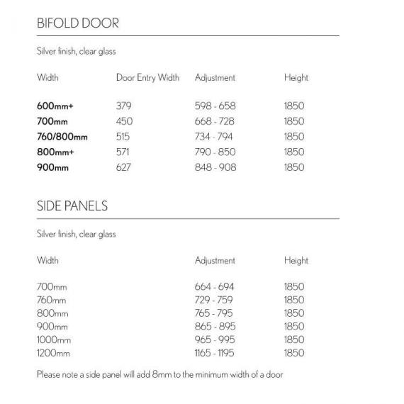 Simpsons Supreme Bifold Shower Door Specification
