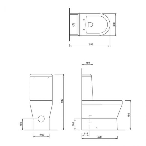 Britton Tall Close Coupled Back To Wall WC, Angled Cistern & Soft Close Seat - Spec