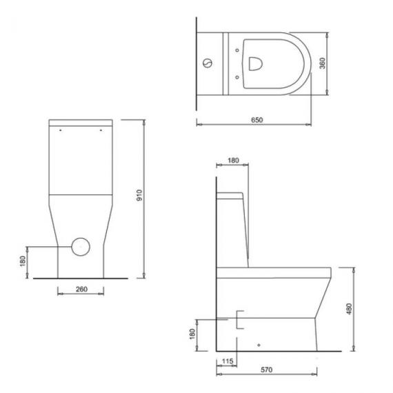 Britton Tall Close Coupled Back To Wall WC, Cistern & Seat - Spec