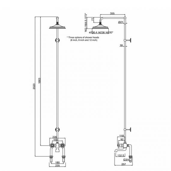 Burlington Tay Deck Mounted Bath Shower With Rigid Riser, Rose & Arm - Spec