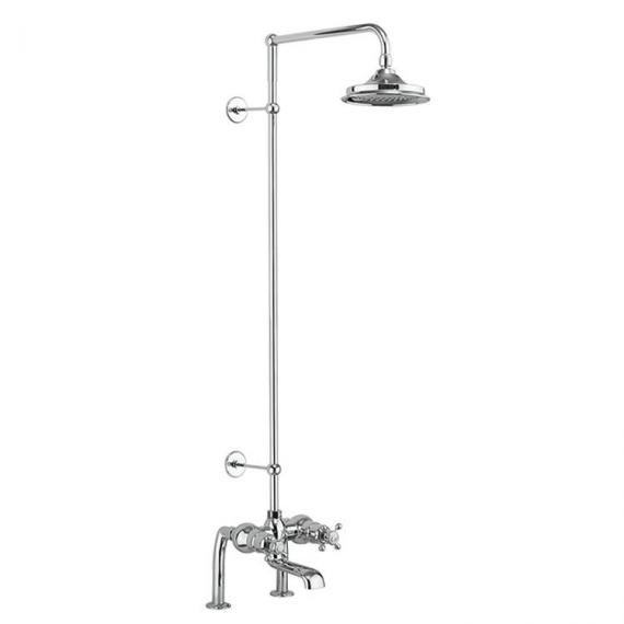 Burlington Tay Deck Mounted Bath Shower With Rigid Riser, Rose & Arm