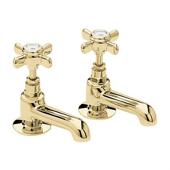 Heritage Dawlish Vintage Gold Basin Pillar Taps