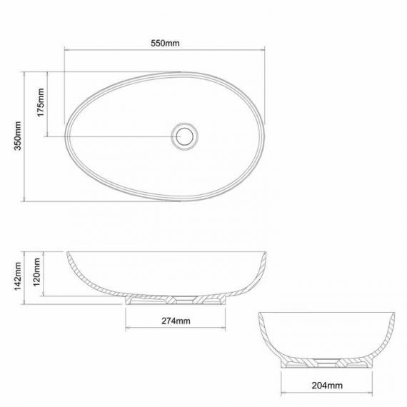 Clearwater Teardrop Clear Stone Basin Specification